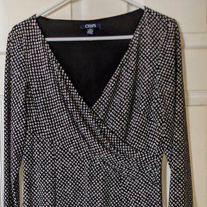 Chaps Women's Large Dress Black White Print Design